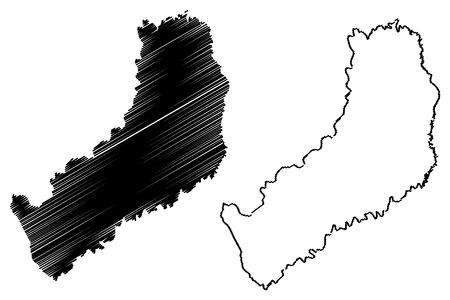 Illustration pour Misiones (Region of Argentina, Argentine Republic, Provinces of Argentina) map vector illustration, scribble sketch Misiones Province map - image libre de droit