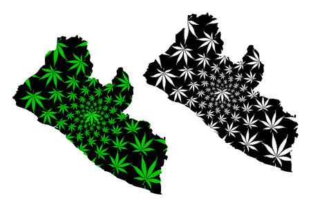 Illustration pour Liberia - map is designed cannabis leaf green and black, Republic of Liberia map made of marijuana (marihuana,THC) foliage, - image libre de droit