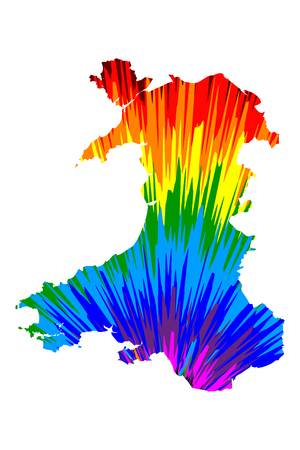 Illustration pour Wales - map is designed rainbow abstract colorful pattern, Wales map made of color explosion, - image libre de droit