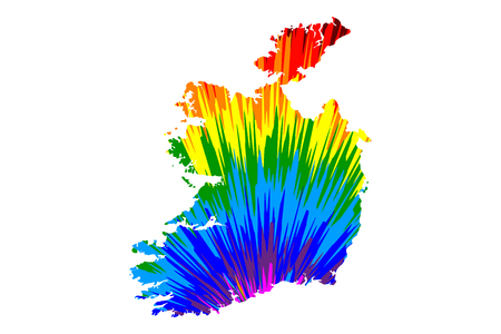 Illustration pour Ireland - map is designed rainbow abstract colorful pattern, Republic of Ireland map made of color explosion, - image libre de droit