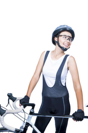 portrait of young caucasian female athlete wearing professional clothing with bike  isolated on white background  vertical shot