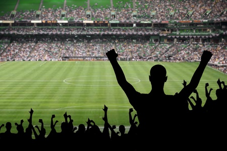 Fan celebrating a victory at a soccer game.