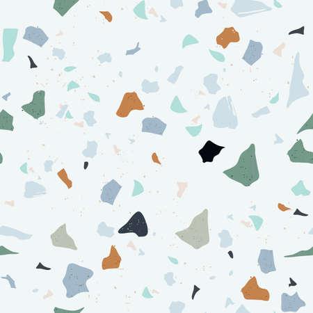 Illustrazione per Set of Beautiful Terrazzo Seamless Pattern. Vector Illustration - Immagini Royalty Free