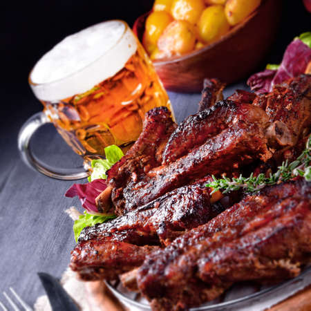 Photo pour Delightful BBQ Spareribs from the Smoker - image libre de droit