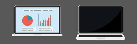 Illustration for Two vector laptops different foreshortening, on and off view with financial infographic isolated. - Royalty Free Image