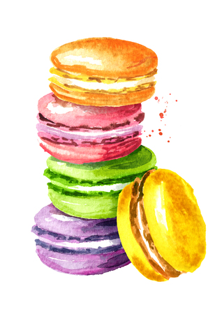 Photo for Traditional french Cake macaron or macaroon, colorful almond cookies. Watercolor hand drawn illustration, isolated on white background - Royalty Free Image