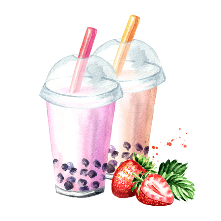 Photo for Fruit Milky Bubble Tea. Food concept. Watercolor hand drawn illustration isolated on white background - Royalty Free Image