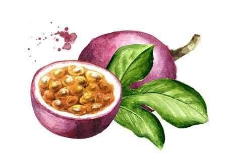 Foto de Whole and half passion fruits maracuya with green leaf. - Imagen libre de derechos