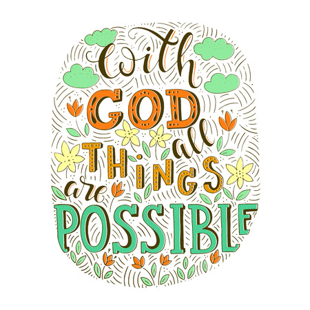Illustration for Religion lettering illustration, With God all things are possible text doodle style. - Royalty Free Image