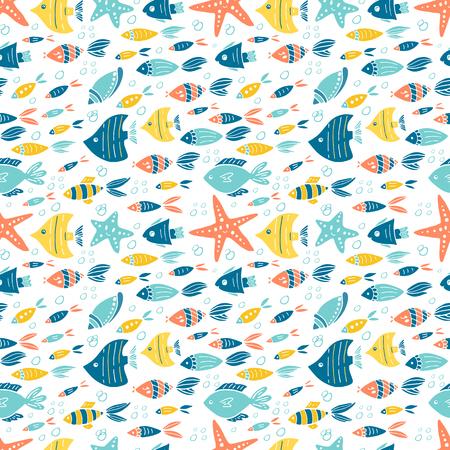 Ilustración de Vector under water world seamless pattern design - Imagen libre de derechos