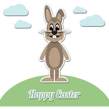 happy easter brown cartoon bunny white background