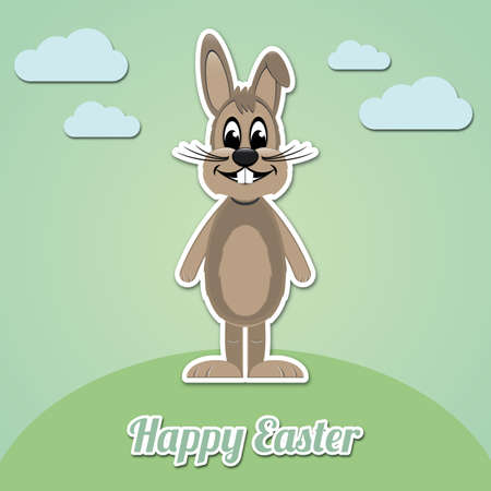 happy easter brown cartoon bunny green background