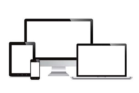 Illustration pour laptop, smartphone, tablet, computer, display isolated mockup white background - image libre de droit