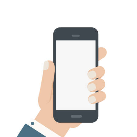 Illustration for flat blank phone hold in hand isolated - Royalty Free Image