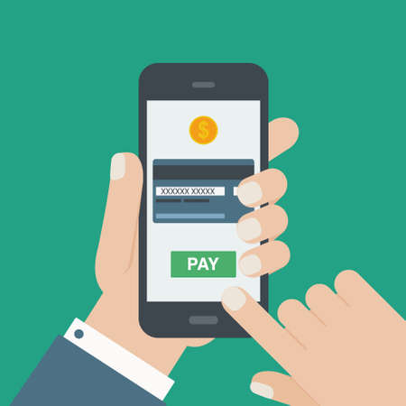 Illustration pour mobile payment credit card hand holding phone flat - image libre de droit
