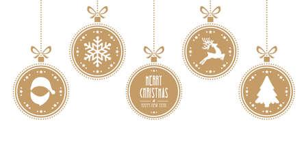 Ilustración de christmas balls hanging gold isolated background - Imagen libre de derechos
