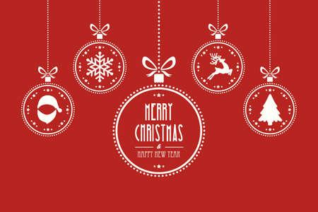 Ilustración de christmas ball red background - Imagen libre de derechos