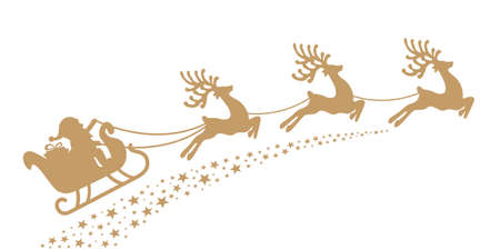 Ilustración de santa sleigh reindeer gold silhouette - Imagen libre de derechos