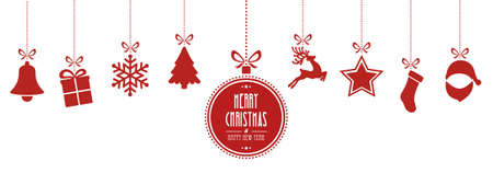 Illustration for christmas elements hanging red isolated background - Royalty Free Image