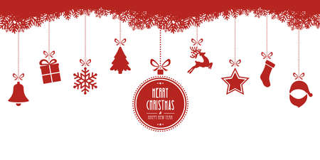 Illustration pour christmas elements hanging red isolated background - image libre de droit