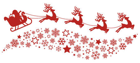 Illustration pour santa sleigh reindeer flying snowflakes red silhouette - image libre de droit