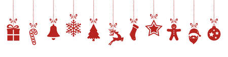 Illustration pour christmas ornaments hanging red isolated background - image libre de droit