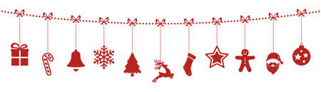 Ilustración de christmas ornaments hanging rope red isolated background - Imagen libre de derechos