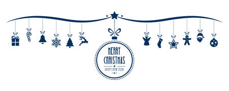 Illustration for merry christmas bauble decoration elements blue isolated background - Royalty Free Image