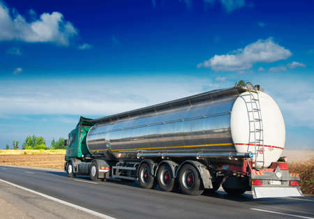 Photo for big fuel gas tanker truck on highway - Royalty Free Image