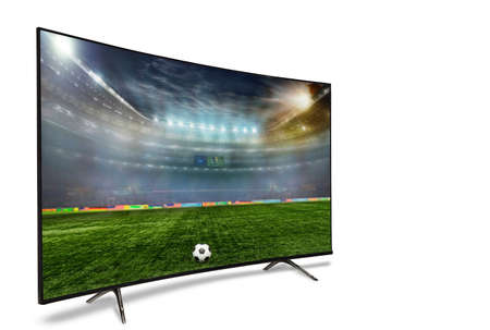 Photo pour 4k monitor isolated on white. Isometric view.   monitor watching smart tv translation of football game. - image libre de droit