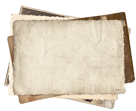 Photo pour Bunch of old photos with stains and scratches background isolated - image libre de droit