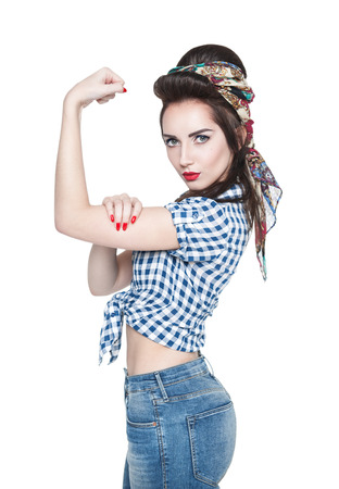 Photo pour Young beautiful woman in retro pinup style with powerful gesture We Can Do IT isolated - image libre de droit