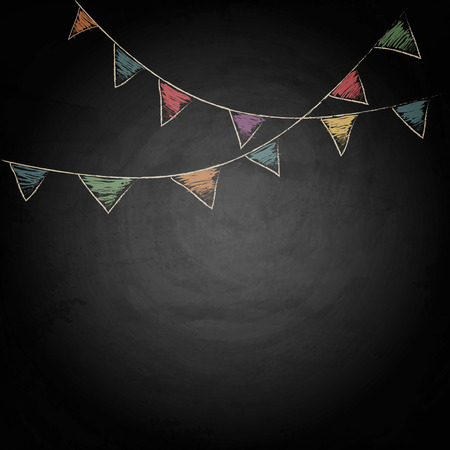 Illustration for Chalkboard background with drawing bunting flags. Vector texture  - Royalty Free Image