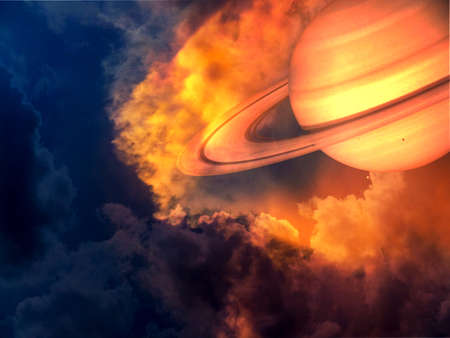 Photo pour saturn red hot and space on sunset sky. - image libre de droit