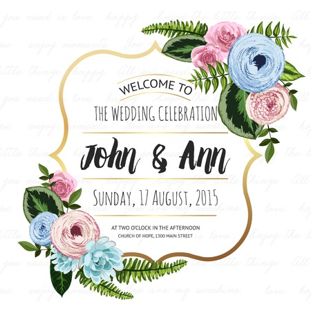 Photo pour Wedding invitation card with painted flowers and plants on seamless lettering background. Gold frame, cute design - image libre de droit