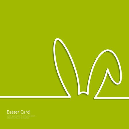 Illustration pour Easter background with silhouette line rabbit - image libre de droit