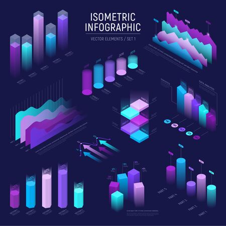 Illustration pour Futuristic isometric infographic for your business presentation. Vector set of infographics with statistics diagrams, data icons charts, graphics and design elements. Template for banner and website - image libre de droit