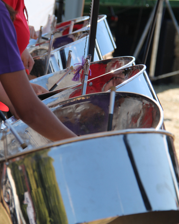 Photo for The Steel Drums of a Traditional Caribbean Band. - Royalty Free Image