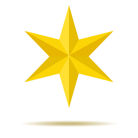 Illustration pour Star on Yellow for Ornaments with Six-pointed edges For your design. - image libre de droit