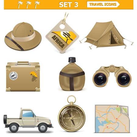 Illustration pour Vector travel icons set 3 - image libre de droit