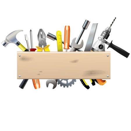Illustration pour Vector Board with Tools - image libre de droit