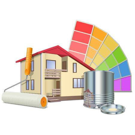 Ilustración de Vector Painting Concept with House - Imagen libre de derechos