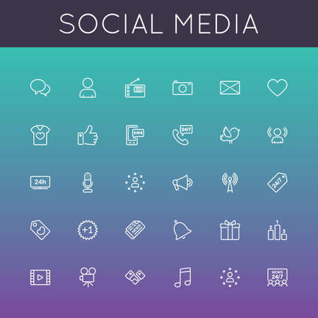 Illustration for Vector Social Media Line Icons isolated on color background - Royalty Free Image