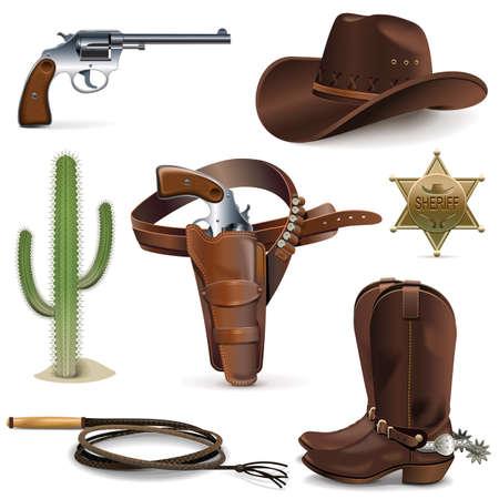 Ilustración de Vector Cowboy Icons isolated on white background - Imagen libre de derechos