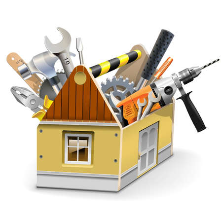 Illustration pour Vector House Toolbox isolated on white background - image libre de droit