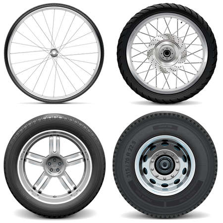 Illustration pour Vector Tires for Bicycle Motorcycle Car and Truck isolated on white background - image libre de droit