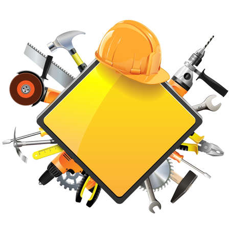 Foto für Vector Construction Sign with Tools isolated on white background - Lizenzfreies Bild