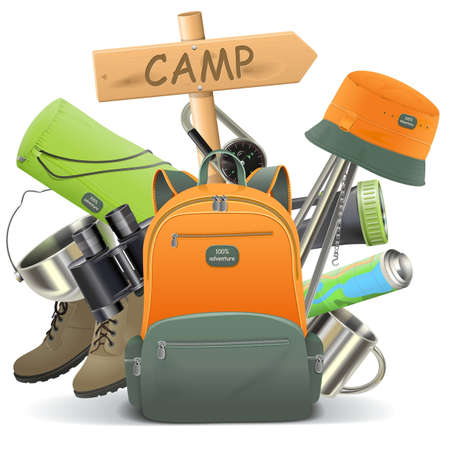 Illustration pour Vector Camping Concept with Backpack isolated on white background - image libre de droit