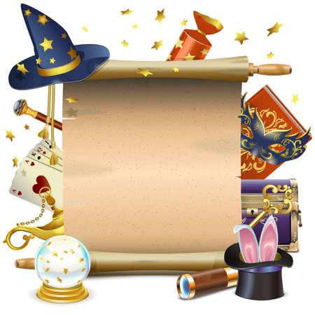 Ilustración de Vector Magic Scroll isolated on white background - Imagen libre de derechos