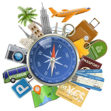 Illustration pour Vector Tourism Concept with Compass isolated on white background - image libre de droit